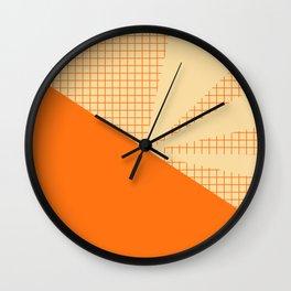 Geometric orange grid collage Wall Clock