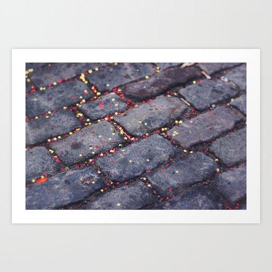 Rocks, stars, hearts Art Print