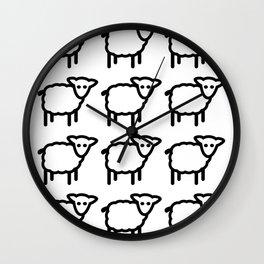 Cute Transparent Sheep Flock in Rows Monotone Light Wall Clock