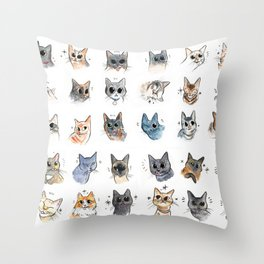 50 cat bleps! Throw Pillow