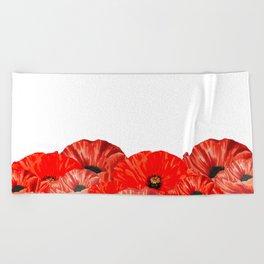 Poppies on White Beach Towel