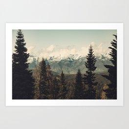 Snow capped Sierras Art Print