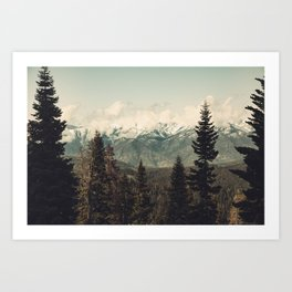 Snow capped Sierras Art Print