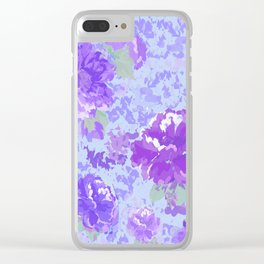 purple peonies in blue clouds Clear iPhone Case