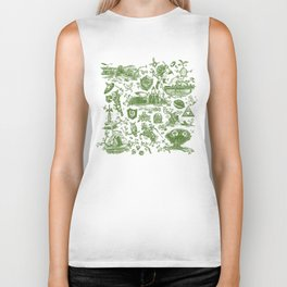 "Zelda ""Hero of Time"" Toile Pattern - Kokiri's Emerald Biker Tank"
