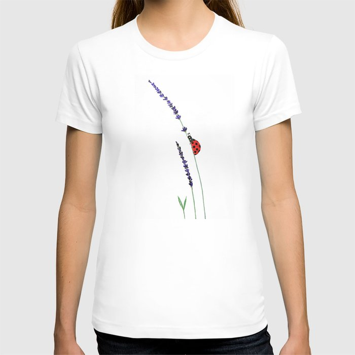 red ladybug and purple lavender T-shirt