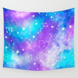 Modern nebula ultra violet watercolor hand painted white constellation stars universe small pattern Wall Tapestry