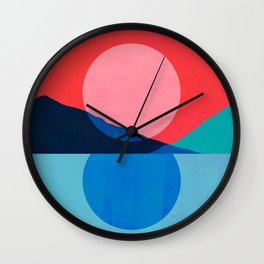 Abstraction_Mountains_SUNSET_Reflection Wall Clock