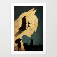 bat man Art Prints featuring BAT MAN  by Edmond Lim
