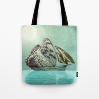voyage Tote Bags featuring The Voyage by Eric Fan