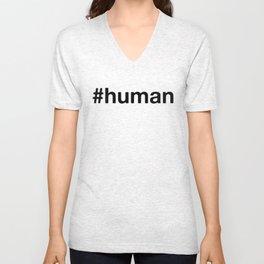 #human (black on white) Unisex V-Neck