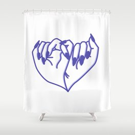 Best Friend Galentine's Day Pinky Promise Pattern in Blue Shadow Shower Curtain