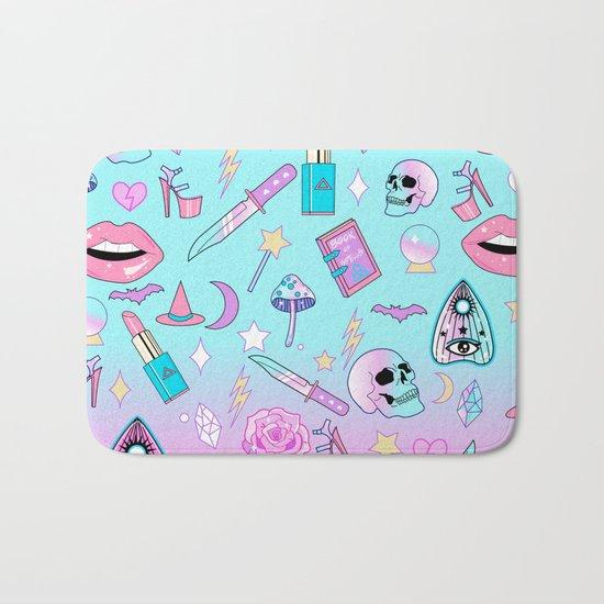 Girly Pastel Goth Witch Pattern Bath Mat