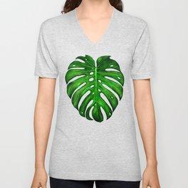 Monstera Leaf Paintings Unisex V-Neck
