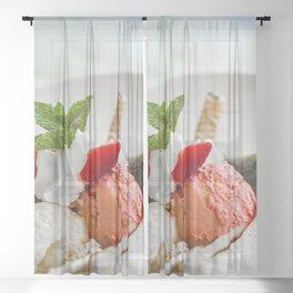 Strawberry ice cream Sheer Curtain
