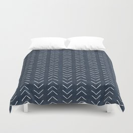 Mud Cloth Big Arrows in Navy Duvet Cover