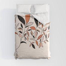 Minimal line Art botanical Portrait Comforters