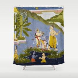 Crossing the Ganges, Ramayana, Bala Kanda landscape painting Shower Curtain