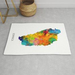 Dominica Watercolor Map Rug