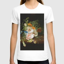 Rachel Ruysch - Posy of flowers, with a red admiral butterfly, on a marble ledge T-shirt