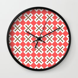 Chocolate Brown + Coral: Pattern No. 4 Wall Clock