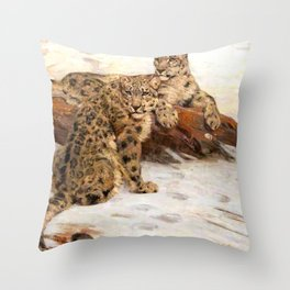 Snow Leopards by William Walls - Vintage Painting Throw Pillow