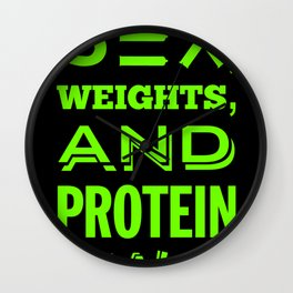 Sex, Weights, and Protein Shakes - Lime Green Wall Clock