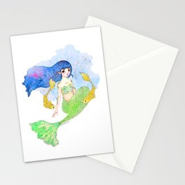 Mermaid and Gold Fish Stationery Cards