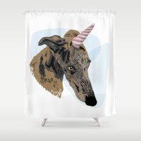 greyhound Shower Curtains featuring greyhound unicorn by Ingrid Winkler