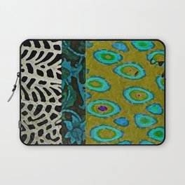 Teal & Olive Abstract Art Collage Laptop Sleeve