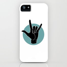 ILY - I Love You - Sign Language - Black on Green Blue 00 iPhone Case