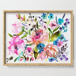WATERCOLOUR PEONY AND ROSES Serving Tray