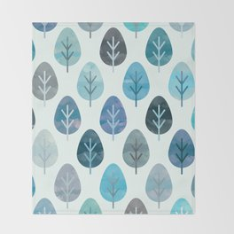Watercolor Forest Pattern #2 Throw Blanket