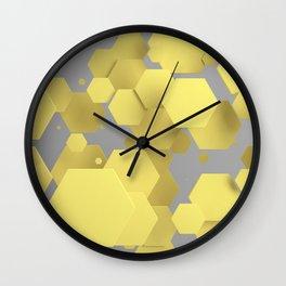 Yellow hexagons on white Wall Clock