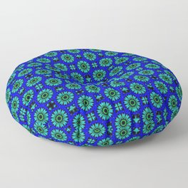 Floral green and blue Floor Pillow