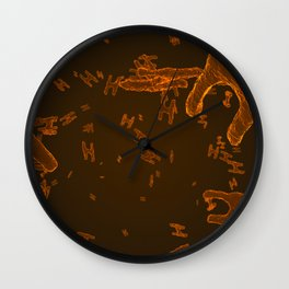 Abstract orange virus cells Wall Clock