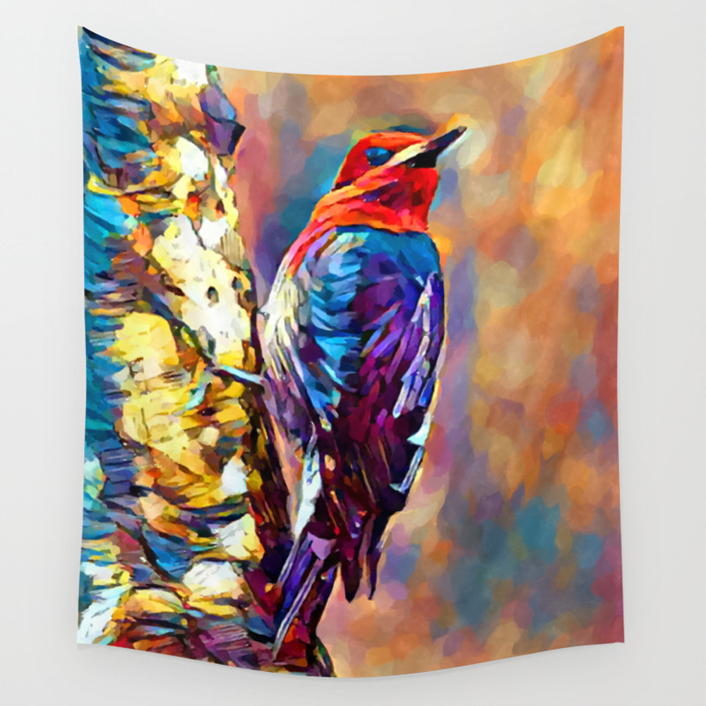 Red-breasted Sapsucker Wall Tapestry by Shrenk (TPS9010163) photo
