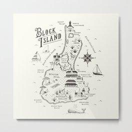 Block Island Map Metal Print