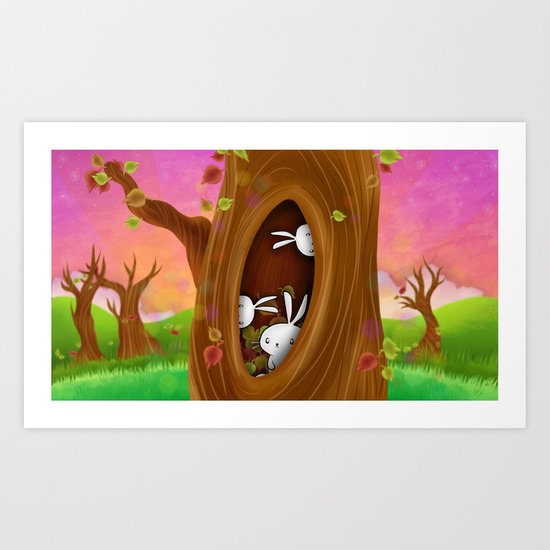 Bunny tree Art Print