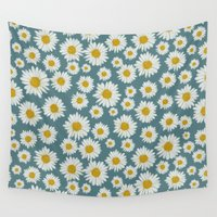 daisies Wall Tapestries featuring daisies by kociara