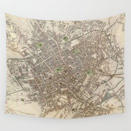 Vintage Map of Birmingham England (1839) Wall Tapestry