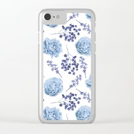 Sky Blue Roses Clear iPhone Case