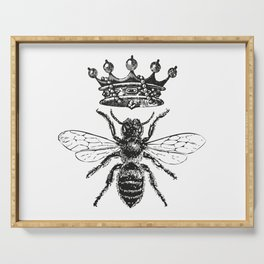 Queen Bee | Vintage Bee with Crown | Black and White | Serving Tray