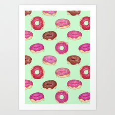 Delicious Donuts - on pale mint green  Art Print