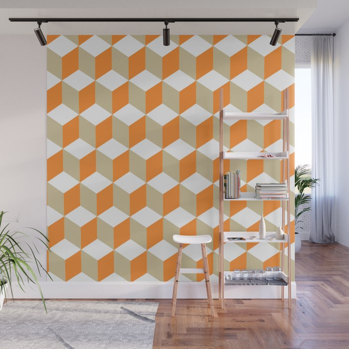 Diamond Repeating Pattern In Russet Orange and Grey Wall Mural