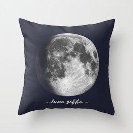 Waxing Gibbous Moon on Navy Latin Throw Pillow