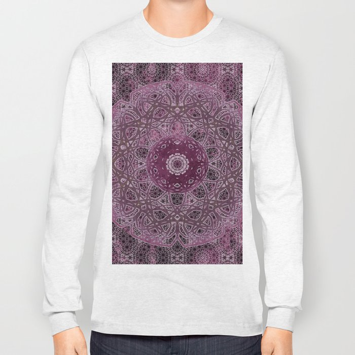 Vintage Merlot Lace Mandala Long Sleeve T-shirt