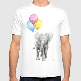 Baby Elephant with Balloons Nursery Animals Prints Whimsical Animal T-shirt