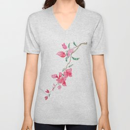 red  pink  bougainvillea watercolor Unisex V-Neck