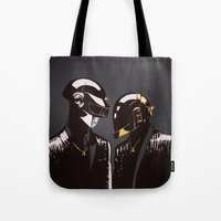daft punk Tote Bags featuring DAFT PUNK by Gregory Casares